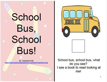 Adapted Back to School Book : PRE-K / AUTISM