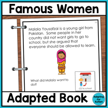 Women's History Month Adapted Book with Comprehension Chec