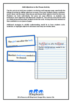 Add Adjectives to Nouns Activity