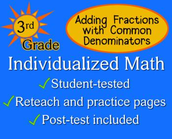 Add Fractions (Common Denominator), 3rd grade - Individual