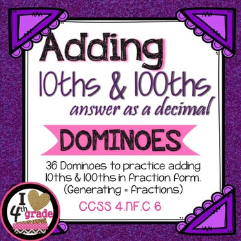Add Fractions Convert Answer to a Decimal Domino Math Cent