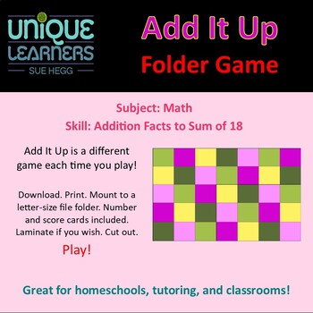 Add It Up Folder Game for Addition Sums 2 to 18