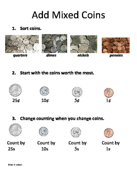 Add Mixed Coins--Visual Step-by-Step Reference