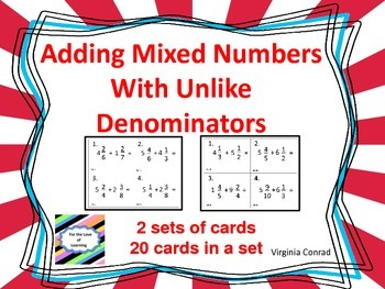 Add Mixed Numbers With Unlike Denominators--Task Cards