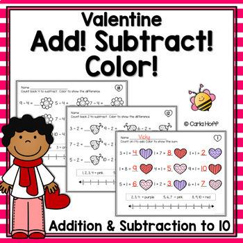 Add! Subtract! Color! Valentine Printables - Addition & Su
