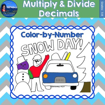 Multiply & Divide Decimals Math Practice Snow Day Color by Number
