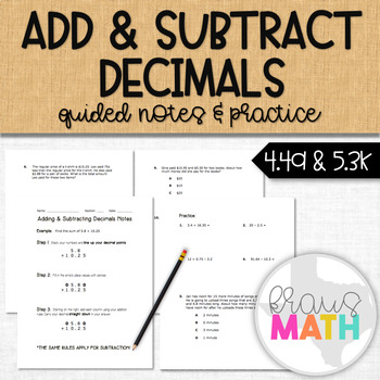Add & Subtract Decimals: Guided Notes & Mixed Practice