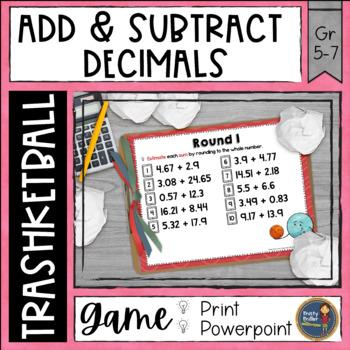 Adding and Subtracting Decimals Trashketball Math Game
