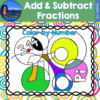 Add & Subtract Fractions Math Practice Pi Day Color by Number