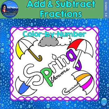 Add & Subtract Fractions Math Practice Spring Showers Colo