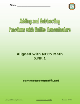 Add/Subtract Fractions with Unlike Denominators - 5.NF.1-2