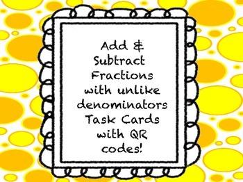 Add & Subtract Fractions with Unlike Denominators QR Code