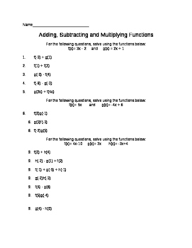 Add, Subtract, Multiply Functions