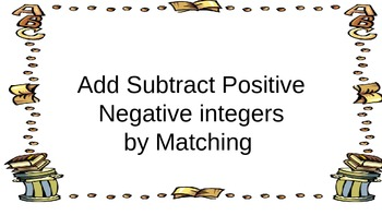 Add Subtract Positive and Negative Integers Matching Up Wh