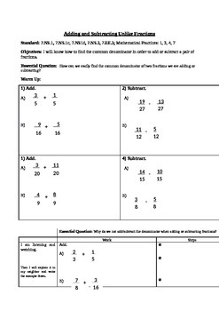 Add & Subtract Unlike Fractions (7.NS.1; Mathematical Prac