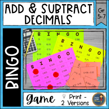 Adding and Subtracting Decimals BINGO Math Game