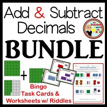 Decimals - Add & Subtract Decimals - Bingo, Task Cards, &