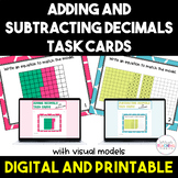 Add and Subtract Decimals with Visual Models *Task Cards* - 5th