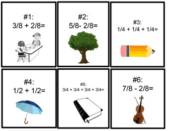 Add and Subtract Fractions Task Cards (Common Denominators)