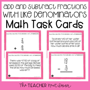 Add and Subtract Fractions with Like Denominators Task Car