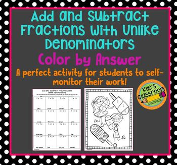 Add and Subtract Fractions with Unlike Denominators Color