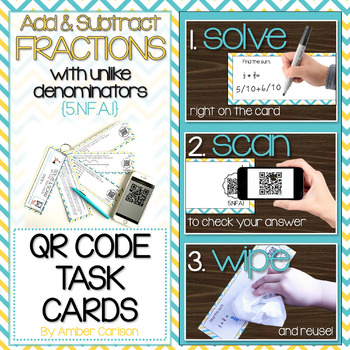 Add and Subtract Fractions with Unlike Denominators | QR T