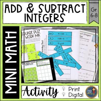 Add and Subtract Integers Math Activities Google Slides an