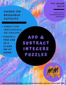 Add and Subtract Integers Puzzle Rockets