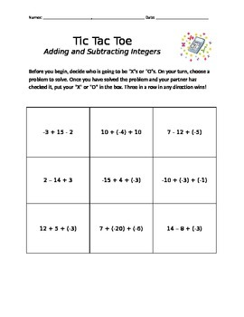 Add and Subtract Integers Tic Tac Toe