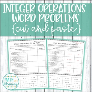 Add & Subtract Integers Word Problems Cut and Paste Activi