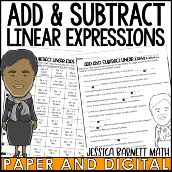 Add and Subtract Linear Expressions Mistory Lib Activity