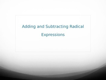 Add and Subtract Radical Expressions