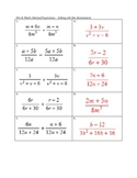 Add and Subtract Rational expressions like denominators activity