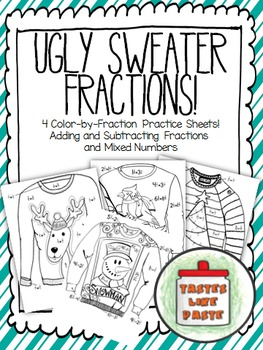 Add and Subtract Unlike Fractions: UGLY SWEATERS! Solve-an