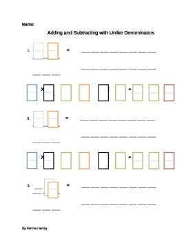 Add and Subtract Unlike denominators Visual