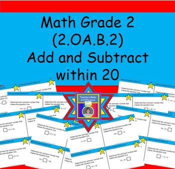 Add and Subtract Within 20 Task Cards (CCSS.2.OA.B.2) {Add