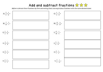 Add and subtract unlike fractions extension