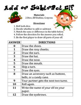 Add or Subtract Elf - A Strategic Christmas Math Activity