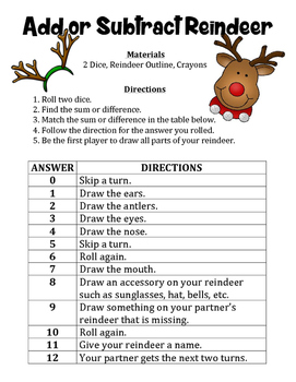 Add or Subtract Reindeer - A Strategic Christmas Math Game