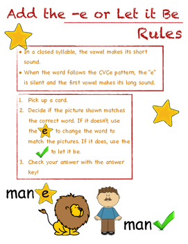 Add the e or Let it Be (Game for CVCe)