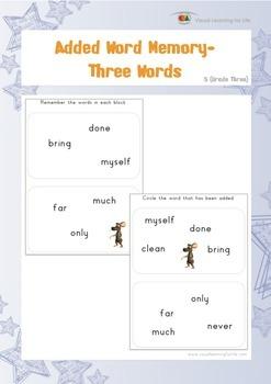 Added Word Memory (3rd Grade)
