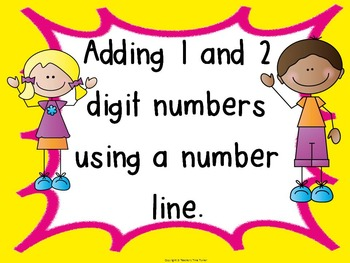 Adding 1 and 2 digit numbers using a number line