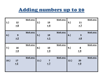 Adding numbers (up to 20) Practice Worksheet