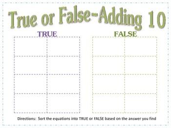 Adding 10- True False Sort