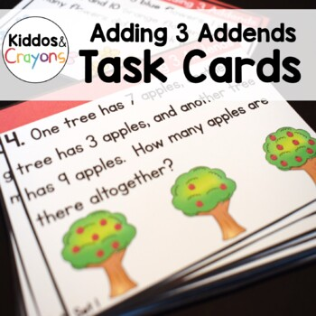 Adding 3 Addends Word Problems Task Cards 1.OA.2