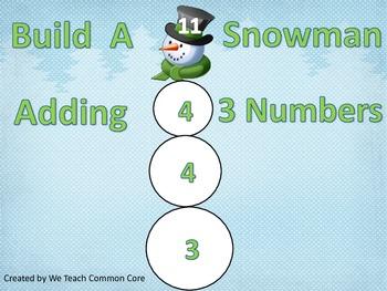 Adding 3 Numbers Build a Snowman Math Center Activity