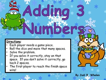 Adding 3 Numbers- winter theme gameboard