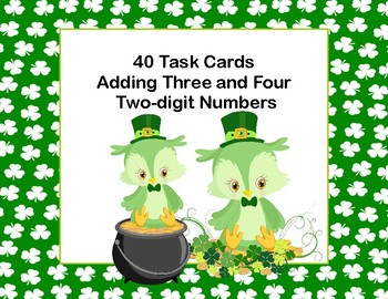 Adding 3 Two-digit Numbers -40 Math Task Cards -2nd Grade-