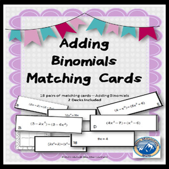 Adding Binomials Matching Cards--2 decks included