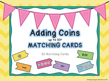 Adding Coins to 50¢ Matching Puzzle Cards